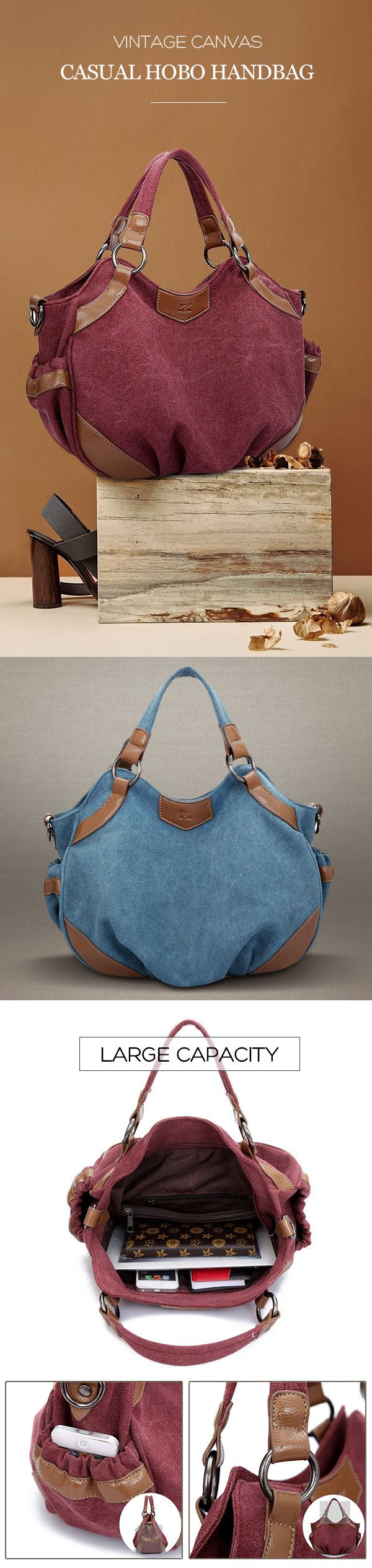 Women Vintage Casual Canvas Hobo Handbag Shoulder Bag Crossbody Bag