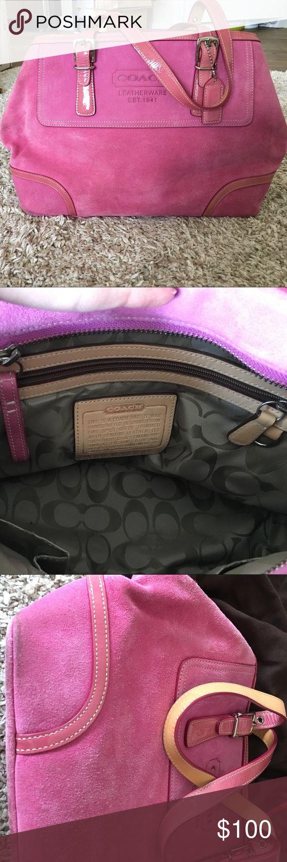 Bubble gum pink coach purse suede Super cute pink coach purse perfect for summer coach Bags Totes
