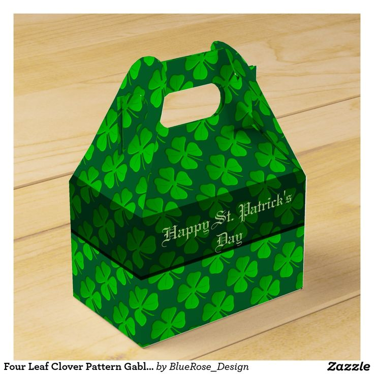 Four Leaf Clover Pattern Gable Favor Box