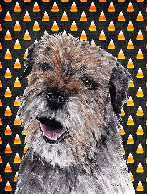 Border Terrier Halloween Candy Corn House Vertical Flag
