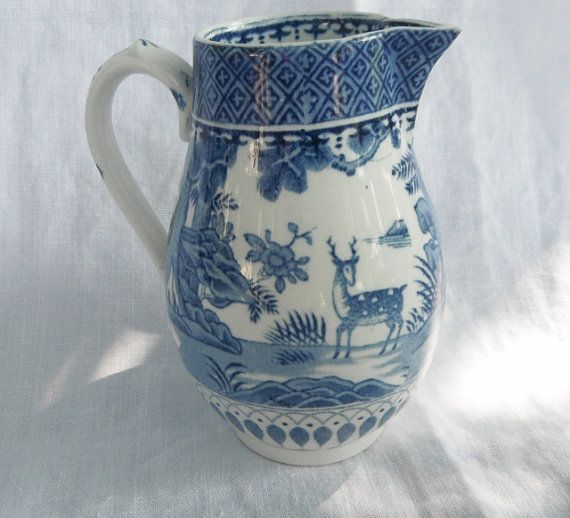 Booths Silicon China Lowestoft Deer Blue Pattern Creamer