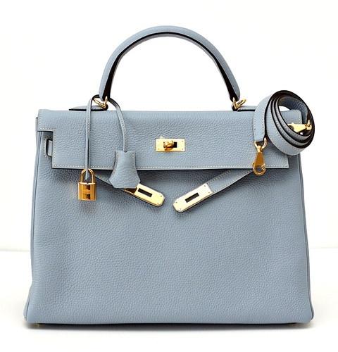 Hermes Kelly 35 Supple Bag Bleu Lin Gold Hardware