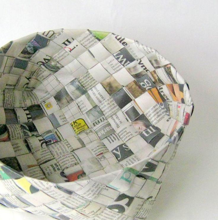 DIY newspaper baskets.