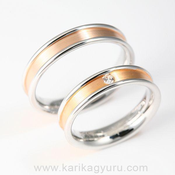 Karikagyűrű Áruház  Fehér és vörös arany karikagyűrű pár, a női gyűrűben 0,045ct G/vs minősítésű briliánssal. Készülhet 14 vagy 18 karátos aranyból is www.karikagyuru.com