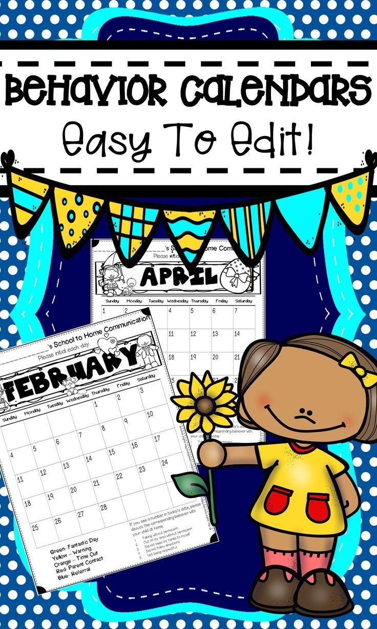 Behavior management, behavior parent communication calendar forms! These are editable and so cute!