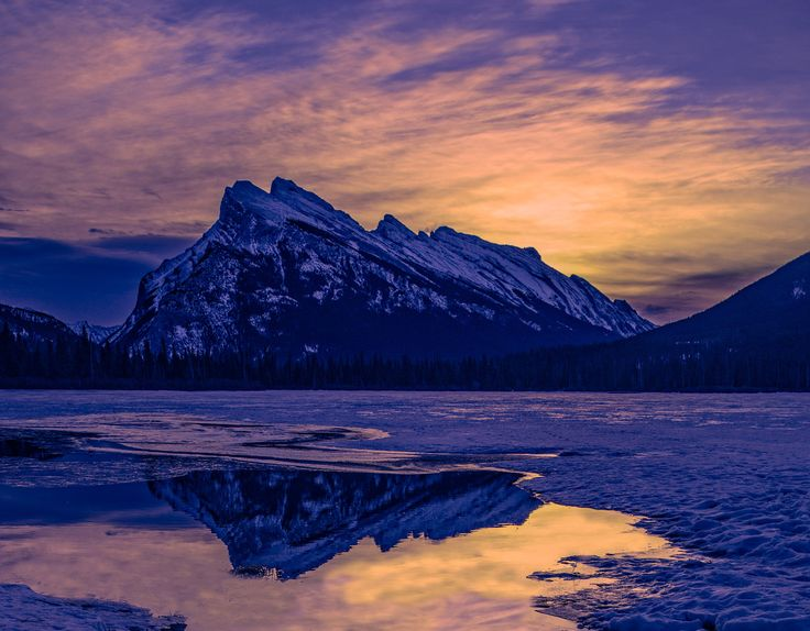 winter sunrise at the lake - Beautiful sunrise at Vermillion Lakes in Banff National Park.