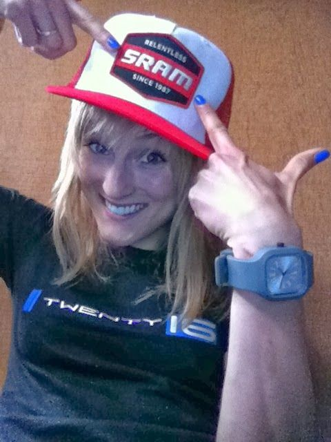 """My favourite hat, my red SRAM cap!  It says: """"Relentless Since 1987""""  ...just like me! :)"""