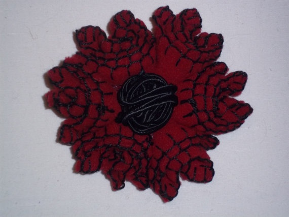 Red felt flower brooch with black silk string ball by TzoFeltGood, €24.00