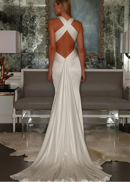 Buy discount Stunning Stretch Satin Halter Neckline Sheath Wedding Dress at Dressilyme.com