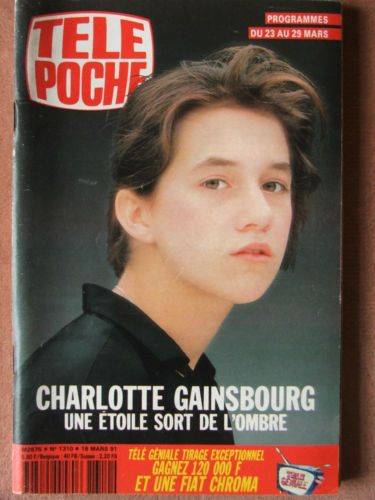 Charlotte Gainsbourg on the cover of Tele Poche n°1310 (18 Mars 1991) #charlottegainsbourg