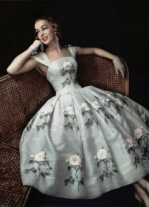 A floral summer cocktail dress for L'Officiel, 1956.
