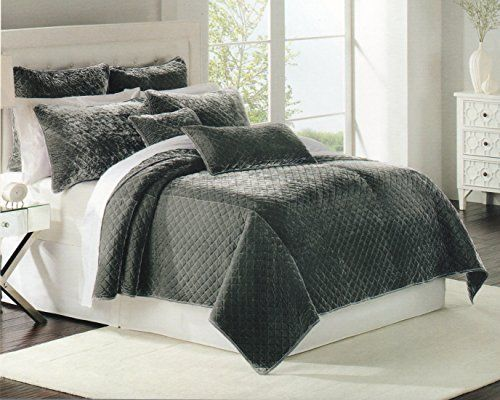 Gray Velvet Coverlet : Luxury bedding nicole miller quilt coverlet twin