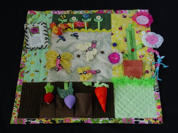 Fidgety Garden Girl Quilt Tactile Bright & by EndearingDignite