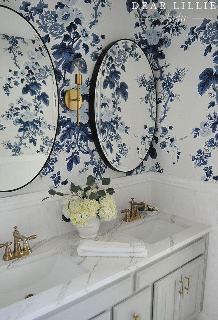 Best 25 black floral wallpaper ideas on pinterest for Blue bathroom wallpaper