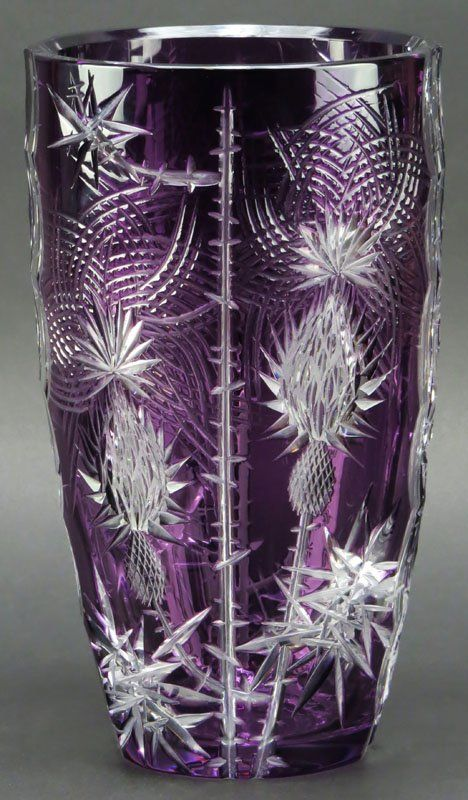 Bahamian Cut Crystal Vase. Amethyst to Clear. Small : Lot 224