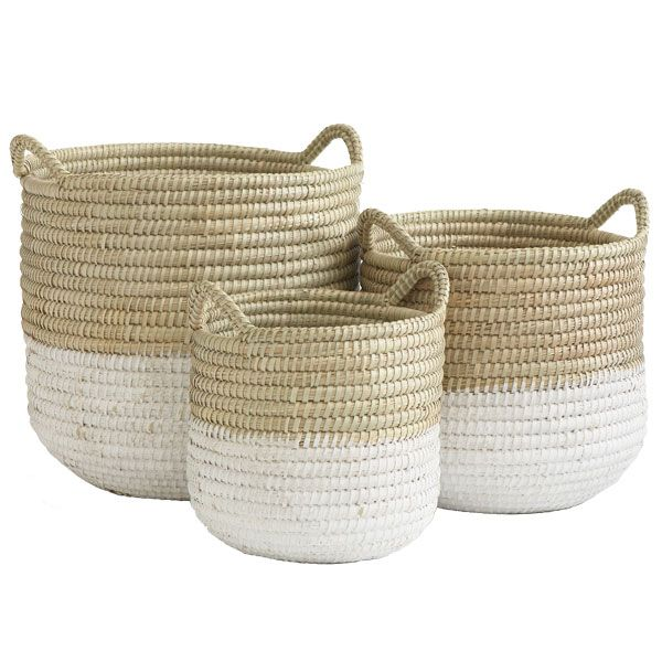 White Dipped Barrel Baskets, although a more vibrate color would make me love these baskets.