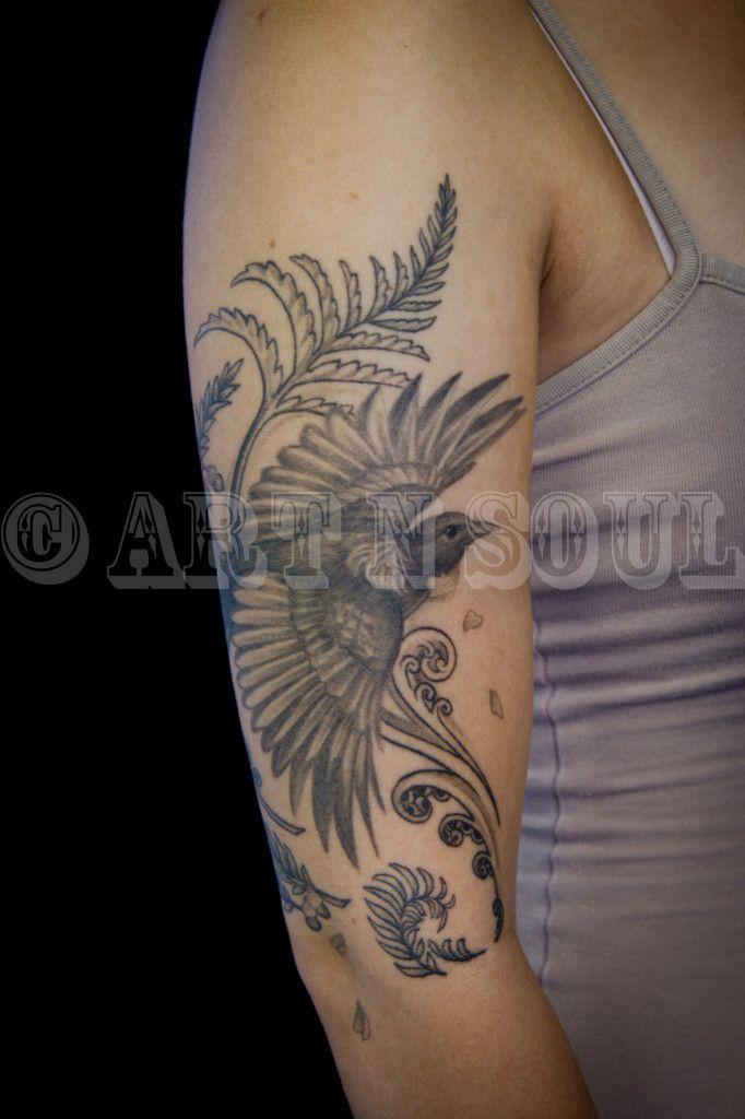 Zoeys Black & Gray Tui  Tattoo