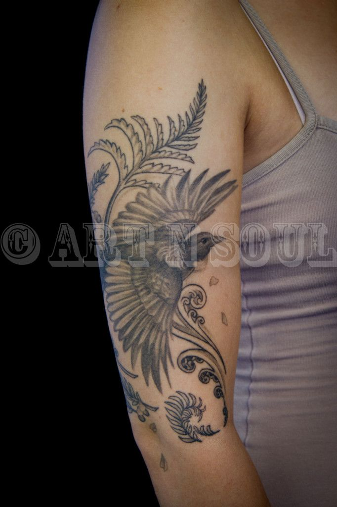 Zoeys Black & Gray Tui Tattoo