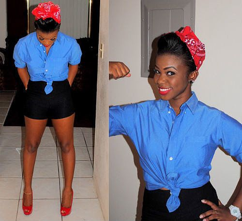 Rosie the Riveter: Kick Rosie the Riveter's attire up a notch with short shorts and high heels. Plus, what's sexier than a hard-working woman? Source: Chictopia