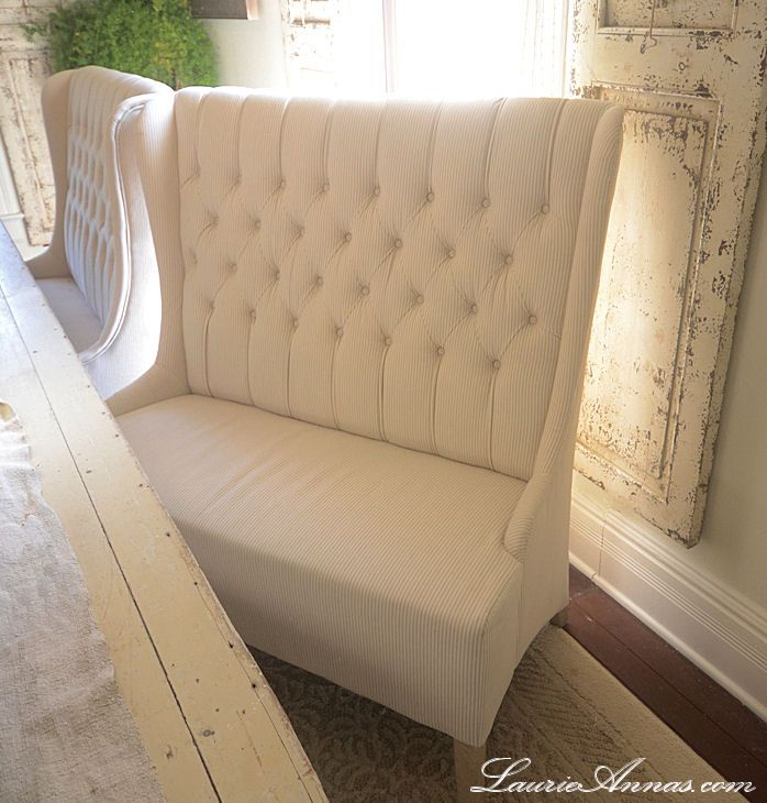 Cream Tuft Linen Benches - Perfect Dining Room Table Chair