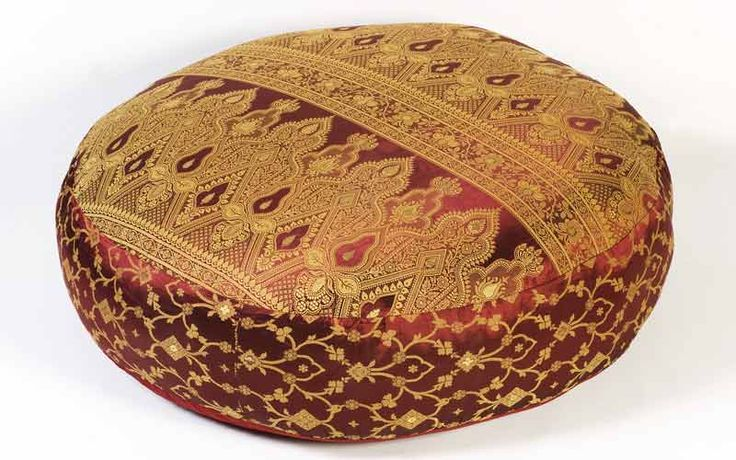 Floor Pillows :: Round Floor Pillows :: Burgundy Sunderi Sari Round Floor Pillows - Monsooncraft ...