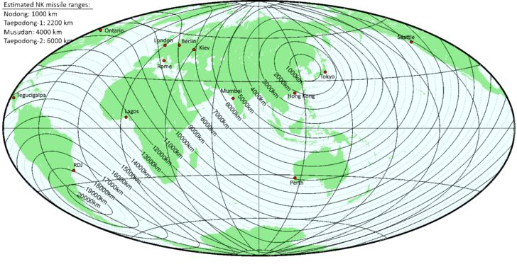 [Map] How safe are you from NK nukes? Gridded great circle distances from Pyongyang. Argentina safest. Done on GMT