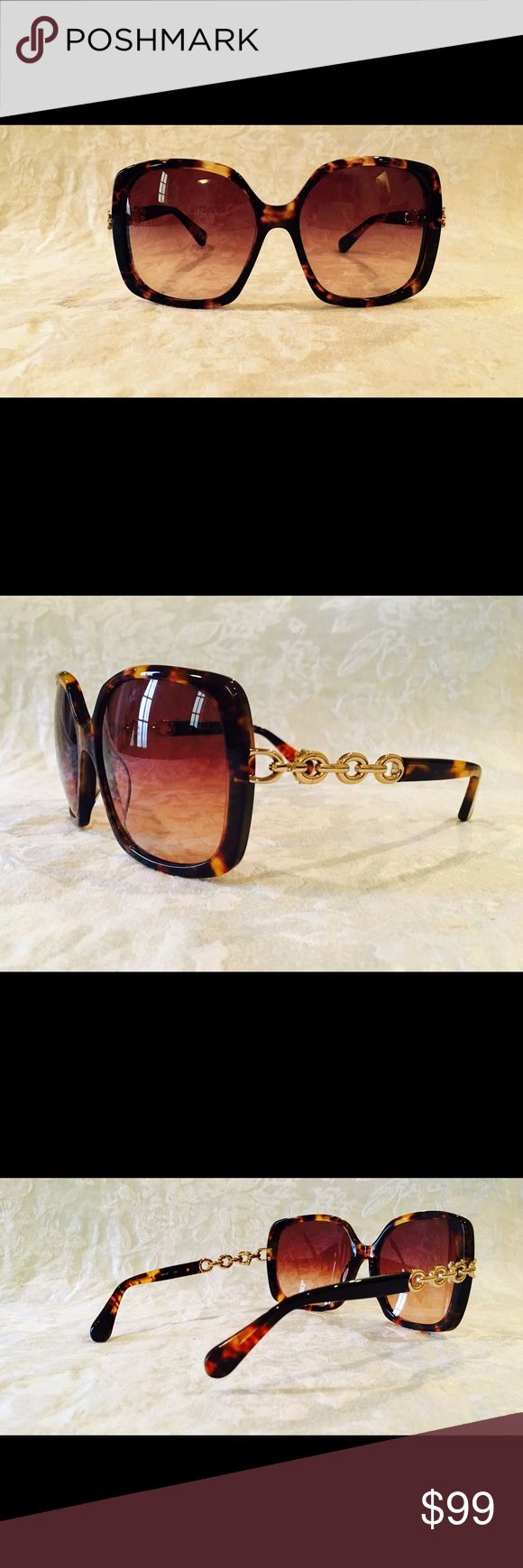 Diane von Furstenberg women's sunglasses. NEW!!! Tortoiseshell square oversized frames with gold hardware on the arms. Sophisticated and stunning. NEW!! Diane von Furstenberg Accessories Sunglasses