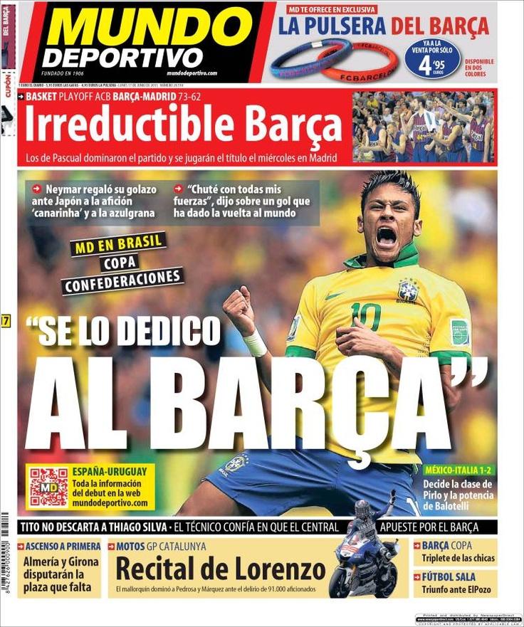 Los Titulares y Portadas de Noticias Destacadas Españolas del 17 de Junio de 2013 del Diario Mundo Deportivo ¿Que le parecio esta Portada de este Diario Español?