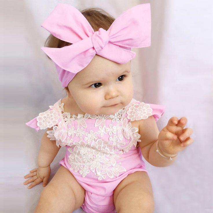 Мода Ребенка Ползунки Розовые Кружева Комбинезон Summer Infant Одежда Новорожденных детская Одежда Новорожденных Девочек Наряды 2 ШТ. #hats, #watches, #belts, #fashion, #style