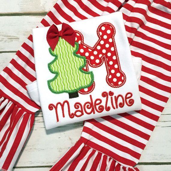 Christmas Shirt Girl- Christmas Tree- Baby Girl Holiday Outfit Ruffle Pants - Christmas Card Photo Outfit - Baby Girl Holiday Dress - Ruffle