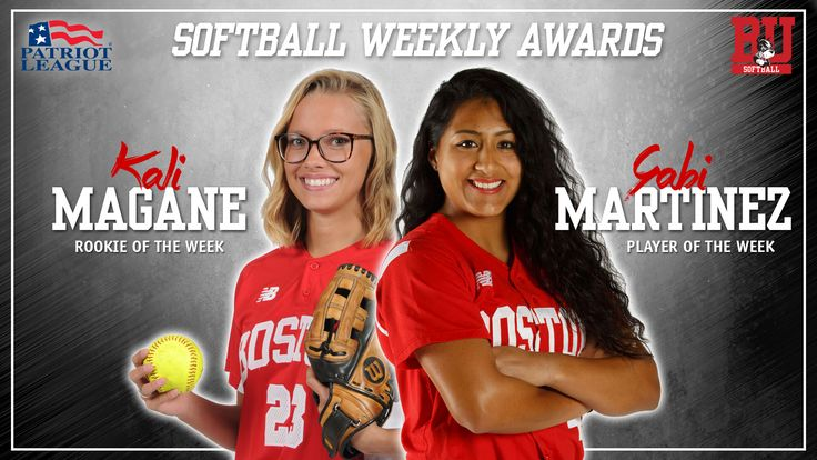 CENTER VALLEY, Pa. --After helping the Boston University softball team conclude the Madeira Beach Invitational with a three-game win streak, senior Gabi Martinez and freshman Kali Magane have claimed Patriot League Weekly honors, the conference announced Tuesday afternoon.