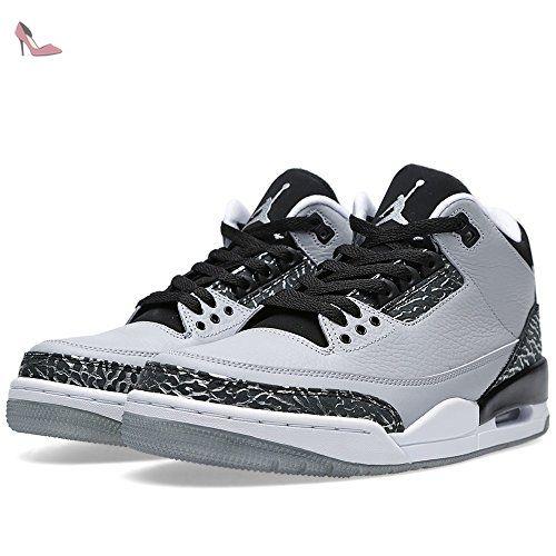 Nike Air Jordan 3 Retro, Chaussures de Sport Homme, Gris / Argenté / Noir (Gris Loup / Argenté Métallique-Noir-Blanc), 50 1/2 EU - Chaussures nike (*Partner-Link)