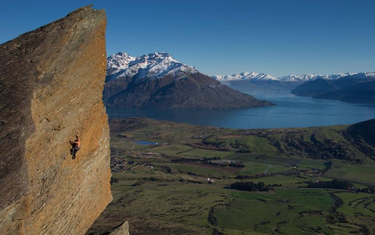 Luke Welch  4 June   Hitting up the Sundial - a massive shard of rock that pierces the sky, protruding from the West Face of the Remarkables Mountains - Queenstown, New Zealand. Route: Race on a Face - French 6a - Australia 19 #MEclimbing — at Queenstown NZ.