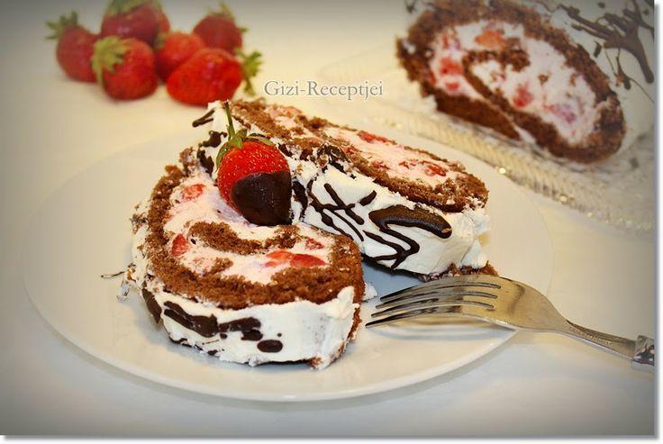 Gizi-receptjei.  Várok mindenkit.: Csokoládés eperkrémes rolád.