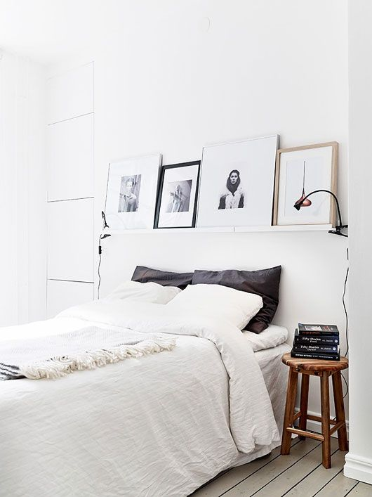 Like the use of the shelf and pictures instead of headboard if don't have one