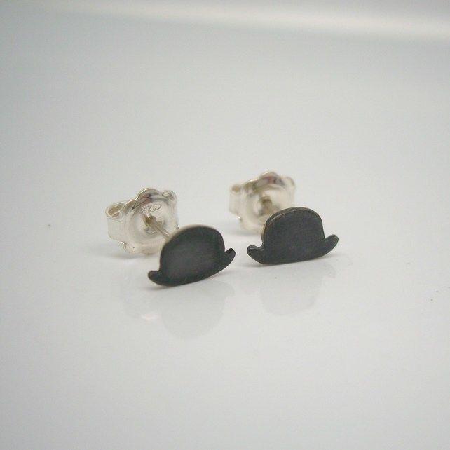 Sterling Silver Black Bowler Hat Stud Earrings