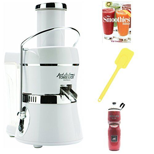 Jack LaLanne Power Juicer Express (White) with Silicone Spatula, Water Bottle, and Smoothie Recipe Book (Certified Refurbished) - http://positivelifemagazine.com/jack-lalanne-power-juicer-express-white-with-silicone-spatula-water-bottle-and-smoothie-recipe-book-certified-refurbished/