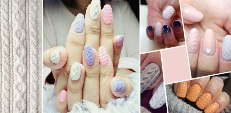 Sweterkowy manicure (knitted nails): paznokcie 3D ZDJĘCIA