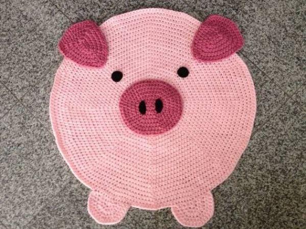tapetes de barbante de desenho porco porquinho