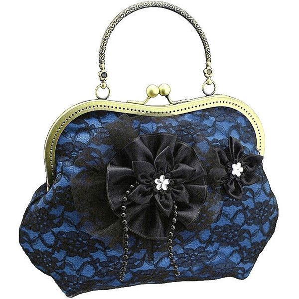 blue and black handbag, formal or vintage style, purse lace bag,... ($55) ❤ liked on Polyvore featuring bags, handbags, clutches, evening bag, blue handbags, lace clutches, evening bags clutches, evening bags and evening purses