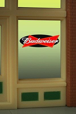 Budweiser Beer Flashing Neon Window Sign HO Scale Model Railroad Sign #8815 by Micro-Structures (8815)