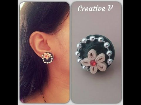 How To Make Quilling Stud Earring/ Design 6/ Tutorial - YouTube