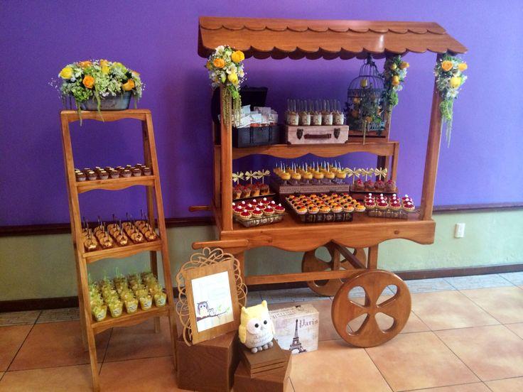 Carrito de postres muebles de dulce pinterest postres for Mesa carro bar madera