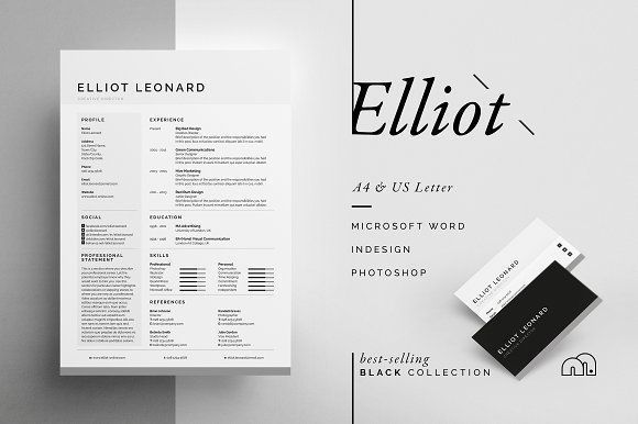 Resume/CV - Elliot by bilmaw creative on @creativemarket Ready for Print Resume template examples creative design and great covers, perfect in modern and stylish corporate business. Modern, simple, clean, minimal and feminine layout inspiration to grab some ideas.