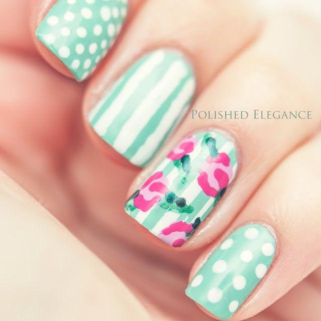 Vintage rose manicure roses nail polish nail art