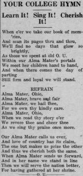 """Green and white (Athens, Ohio) September 24 1920.""""Your College Hymn."""" : Ohio University Archives"""