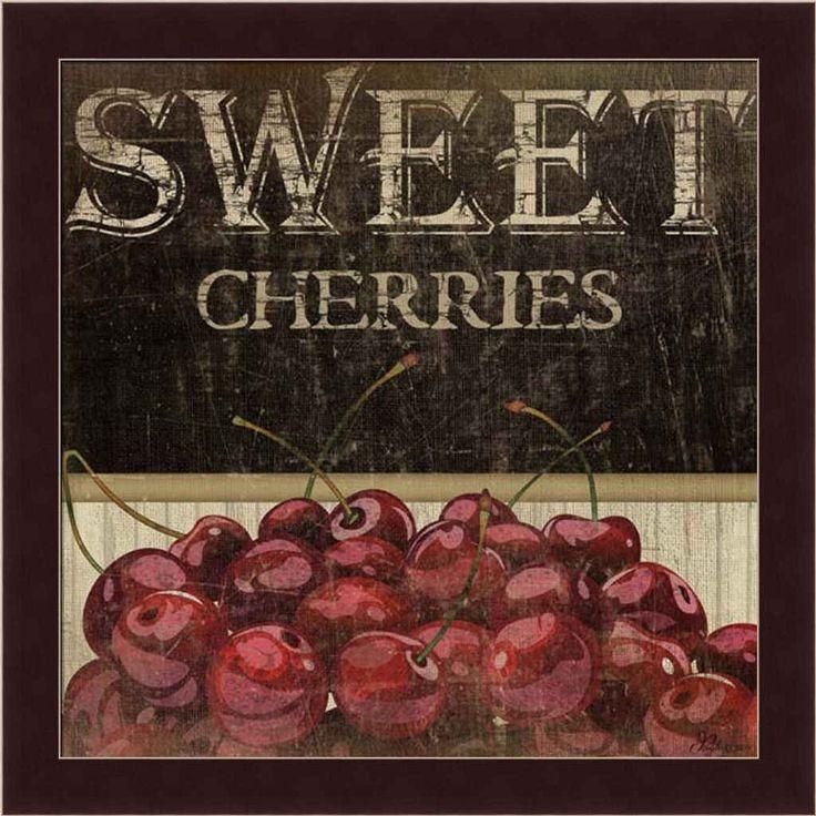 Details about Sweet Cherries Kitchen Décor Fruit Vintage Sign Framed Art Print…