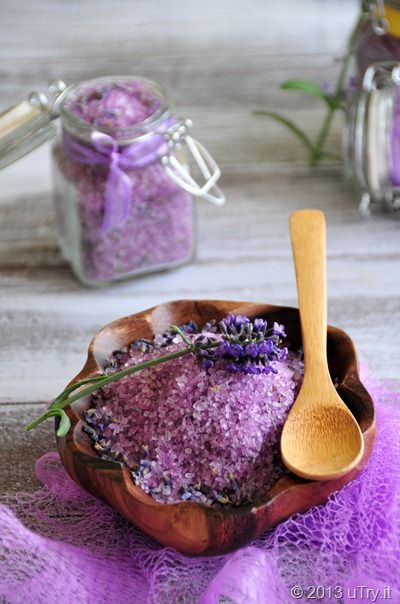 Homemade Lavender Bath Salts... wonderful gift idea In a glass bowl, gently stir Epsom Salt and Dried Lavender buds together. Next, add the 100% pure Lavender essential oil and gently toss together. You can also add lavender soap colorant