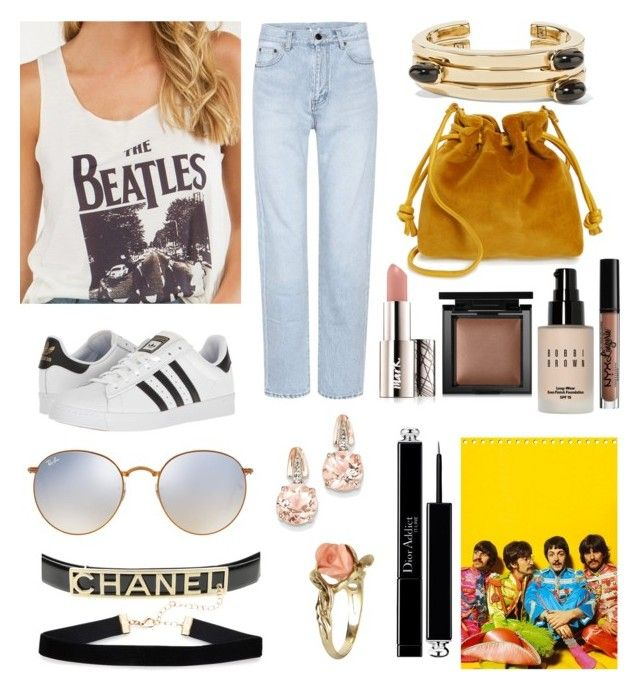 """Outfit #101~ Band T-Shirts"" by ericasalashutchison ❤ liked on Polyvore featuring Yves Saint Laurent, adidas, Lisa Eisner, Clare V., Avon, NYX, Bobbi Brown Cosmetics, Bare Escentuals, Christian Dior and Ray-Ban"