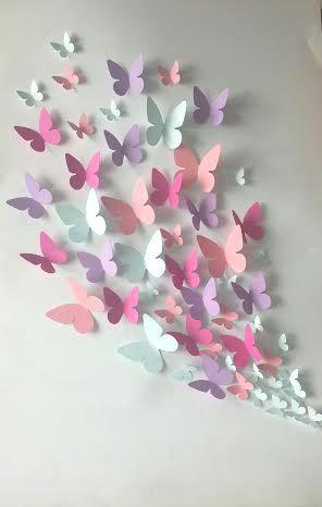 Papel de pared 3D mariposa  arte de la pared por LeCoquetterieShop                                                                                                                                                                                 Más